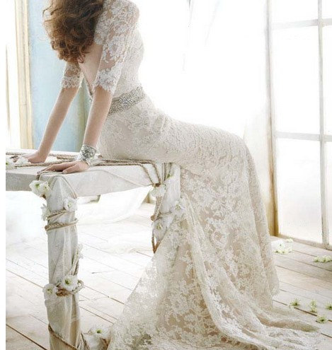 2013 Backless White Ivory Lace 1 2 Sleeve Formal Wedding Dresses Mermaid Bridal Gown Via VEILDRESS