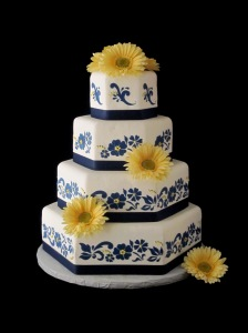 yellow-gerber-daisy-navy-blue-and-white-wedding-cake