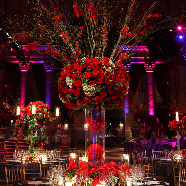 Rose themed wedding inspiration inspirations events for Winter themed wedding centerpieces