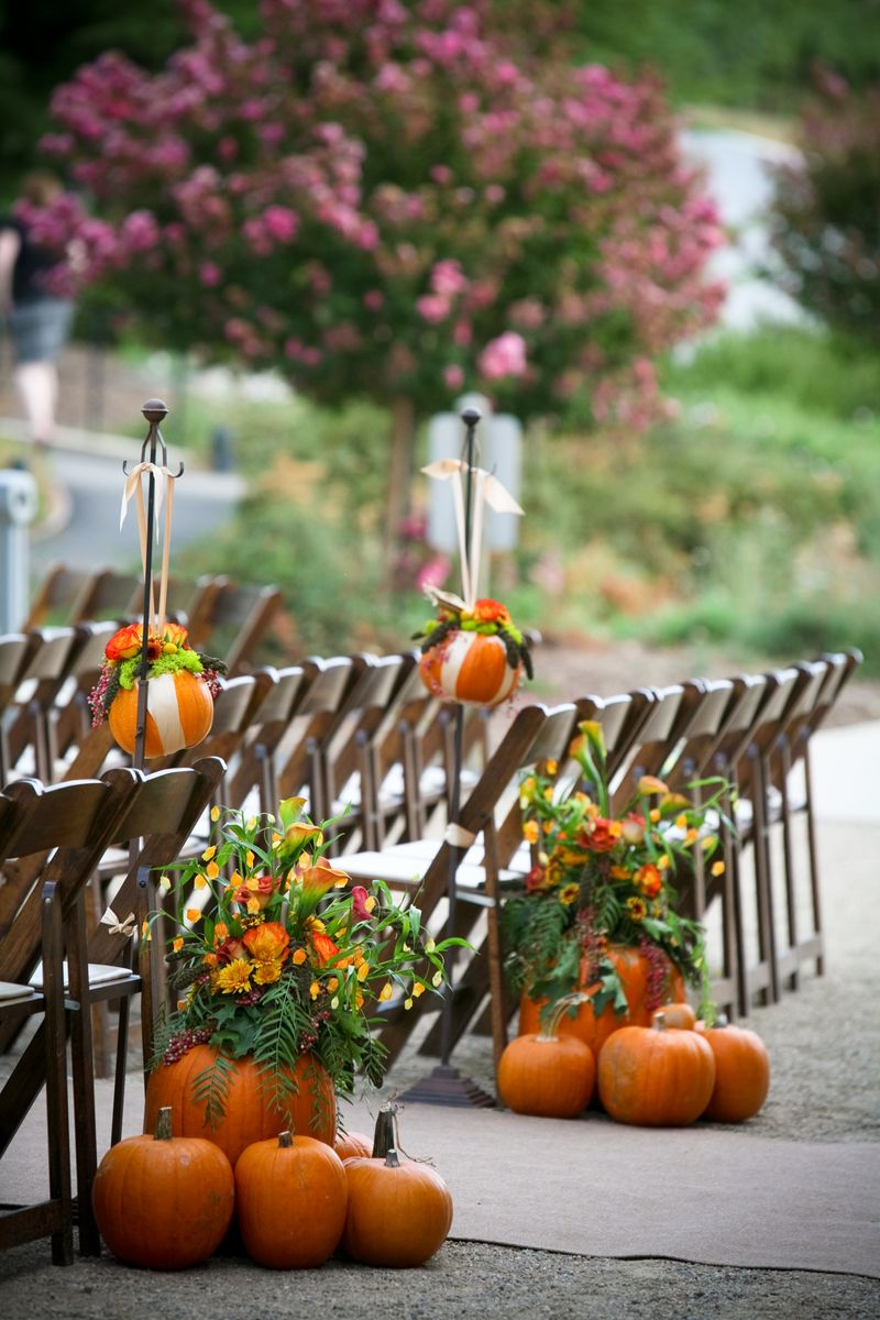 Pumpkin inspired fall wedding inspiration inspirations Fall outdoor decorating with pumpkins